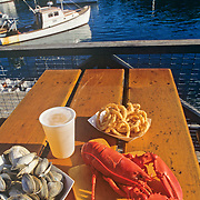 Lobster dinner at Shaw's wharf. New Harbor, Maine