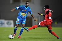 FOOTBALL - FRENCH CHAMPIONSHIP 2010/2011 - L2 - NIMES OLYMPIQUE v LEMANS FC - 1/10/2010 - PHOTO SYLVAIN THOMAS / DPPI - MOUSSA NARRY (LE MANS) / KOMLAN AMEWOU (NIMES)