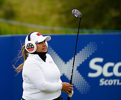 Auchterarder, Scotland, UK. 14 September 2019. Saturday afternoon Fourballs matches  at 2019 Solheim Cup on Centenary Course at Gleneagles. Pictured; Lizette Salas of Team USA on the 4th tee. Iain Masterton/Alamy Live News