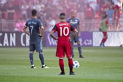 August 12, 2018 - Toronto, Ontario, Canada - MLS Game at BMO Field 2-3 New York City. IN PICTURE: DAVID VILLA, SEBASTIAN GIOVINCO (Credit Image: © Angel Marchini via ZUMA Wire)