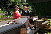 MIRIAM CLEGG; ( Miriam Gonzalez Durantez ) JIMMY C, PRESS PREVIEW. The RHS Chelsea Flower Show 2011. The Royal Hospital grounds. Chelsea. London. 23 May 2011. <br /> <br />  , -DO NOT ARCHIVE-© Copyright Photograph by Dafydd Jones. 248 Clapham Rd. London SW9 0PZ. Tel 0207 820 0771. www.dafjones.com.