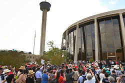 June 26, 2017 - People demonstrating against Texas Senate Bill 4, the Sanctuary City law, protest in front of the San Antonio Federal  Courthouse. U.S. District Judge Orlando Garcia is hearing arguements from eight Texas cities and counties challenging the bill signed by Texas Governor Greg Abbott. (Credit Image: © Robin Jerstad via ZUMA Wire)