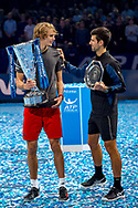 Novak Djokovic of Serbia congratulates Alexander 'Sasha' Zverev of Germany during the Nitto ATP Tour Finals at the O2 Arena, London, United Kingdom on 18 November 2018. Photo by Martin Cole