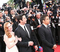 Jessica Chastain, David Schwimmer and Ben Stiller at the gala screening Madagascar 3: Europe's Most Wanted at the 65th Cannes Film Festival. On Friday 18th May 2012 in Cannes Film Festival, France.