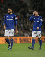 Cenk Tosun and Wayne Rooney of Everton show their dejection and react after going 1-0 down.<br /> Premier league match, Tottenham Hotspur v Everton at Wembley Stadium in London on Saturday 13th January 2018.<br /> pic by Kieran Clarke, Andrew Orchard sports photography.