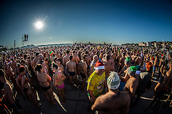 People at warming up during the traditional New Year's jump into the Adriatic sea, on January 1, 2017 in Portoroz/Portorose, Slovenia. Photo by Vid Ponikvar / Sportida
