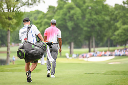 May 5, 2018 - Charlotte, NC, U.S. - CHARLOTTE, NC - MAY 05: Tiger Woods walks down the 14th fairway during the 3rd round of the Wells Fargo Championship on May 05, 2018 at Quail Hollow Club in Charlotte, NC. (Photo by William Howard/Icon Sportswire) (Credit Image: © William Howard/Icon SMI via ZUMA Press)