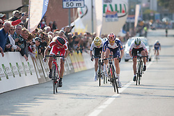 Megan Guarnier (Boels-Dolmans Cycling Team) sprints against Jolanda Neff (Servetto-Footon) for the second place of the Trofeo Alfredo Binda - a 123.3km road race from Gavirate to Cittiglio on March 20, 2016 in Varese, Italy.