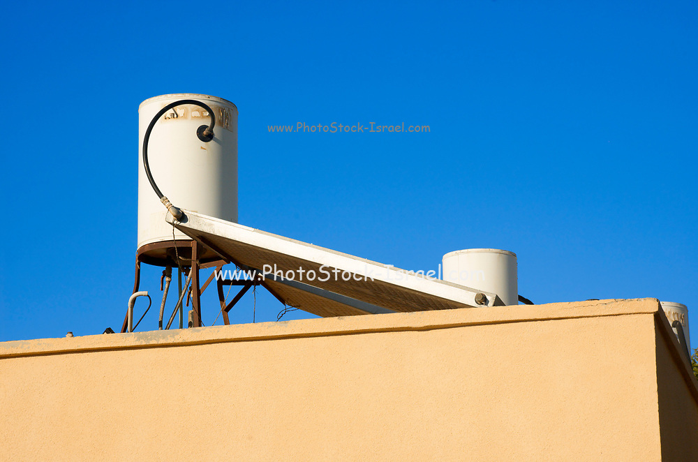 Israel Solar water heating device on a roof of a housing project