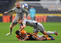 Hull City's Mallik Wilks is fouled by  Burton Albion's Sam Hughes which resulted in Sam Hughes being red carded<br /> <br /> Photographer Dave Howarth/CameraSport<br /> <br /> The EFL Sky Bet League One - Hull City v Burton Albion - Saturday 14th November 2020 - KCOM Stadium - Kingston upon Hull<br /> <br /> World Copyright © 2020 CameraSport. All rights reserved. 43 Linden Ave. Countesthorpe. Leicester. England. LE8 5PG - Tel: +44 (0) 116 277 4147 - admin@camerasport.com - www.camerasport.com