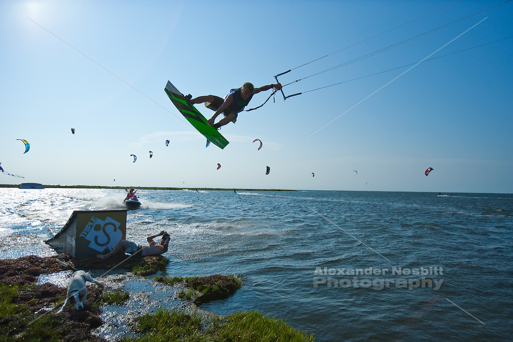 Outerbanks, NC - Davey Blair kiteboarding at the Triple-S 2011