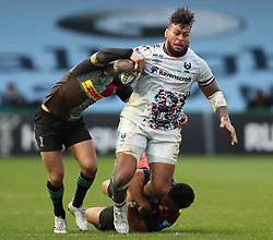 Nathan Hughes of Bristol Bears is tackled by Ben Tapuai and Ross Chisholm of Harlequins - Mandatory by-line: Matt Impey/JMP - 26/12/2020 - RUGBY - Twickenham Stoop - London, England - Harlequins v Bristol Bears - Gallagher Premiership Rugby