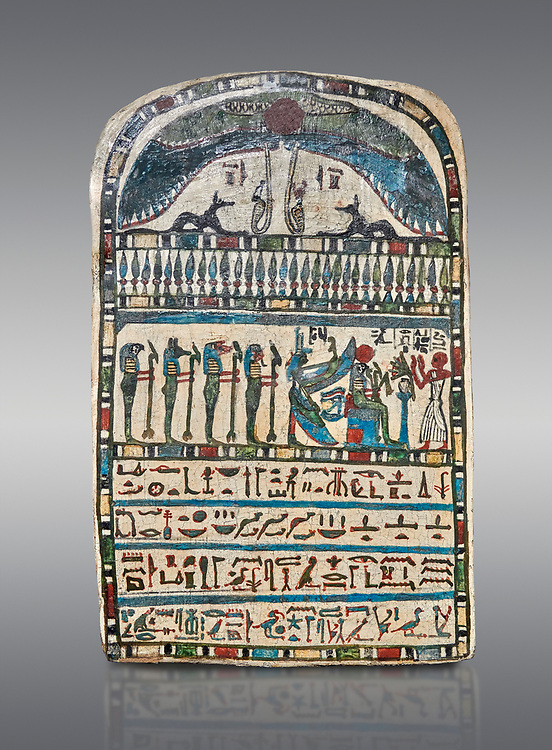 Ancient Egyptian stele dedicated by high priest Padiamenemipet to Ra-Harakhty, limestone, Late Period, 26th Dynasty, (580-520 BC), Deir el-Medina, Cat 1574. Egyptian Museum, Turin. Grey background.<br /> <br /> the round topped stele is dedicated by high priest Padiamenemipet to Ra-Harakht, Isis and the 4 sons of Horus. It was gifted by the Cairo Museum. .<br /> <br /> If you prefer to buy from our ALAMY PHOTO LIBRARY  Collection visit : https://www.alamy.com/portfolio/paul-williams-funkystock/ancient-egyptian-art-artefacts.html  . Type -   Turin   - into the LOWER SEARCH WITHIN GALLERY box. Refine search by adding background colour, subject etc<br /> <br /> Visit our ANCIENT WORLD PHOTO COLLECTIONS for more photos to download or buy as wall art prints https://funkystock.photoshelter.com/gallery-collection/Ancient-World-Art-Antiquities-Historic-Sites-Pictures-Images-of/C00006u26yqSkDOM