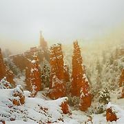 Hoodoos of Fairyland Point in snow, Bryce Canyon National Park, Utah.