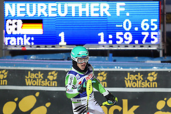 06.01.2014, Stelvio, Bormio, ITA, FIS Ski Alpin Weltcup, Bormio, Salom, Herren, 2. Durchgang, im Bild Felix Neureuther (GER, 1 Platz) // 1st place Felix Neureuther of Germany reacts in the finish area after his 2nd run of mens Slalom of the Bormio FIS Ski World Cup at the Stelvio Course in Bormio, Italy on 2014/01/06. EXPA Pictures © 2014, PhotoCredit: EXPA/ Sammy Minkoff<br /> <br /> *****ATTENTION - OUT of GER*****