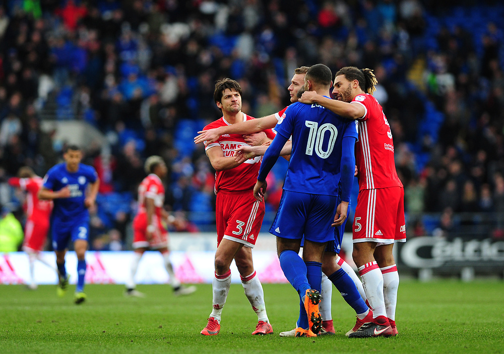 Cardiff City manager Neil Warnock celebrates at the final whistle <br /> <br /> Photographer Ashley Crowden/CameraSport<br /> <br /> The EFL Sky Bet Championship - Cardiff City v Middlesbrough - Saturday 17th February 2018 - Cardiff City Stadium - Cardiff<br /> <br /> World Copyright © 2018 CameraSport. All rights reserved. 43 Linden Ave. Countesthorpe. Leicester. England. LE8 5PG - Tel: +44 (0) 116 277 4147 - admin@camerasport.com - www.camerasport.com