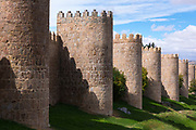 Famous old town of Avila medieval city walls, UNESCO World Heritage Site, Spain