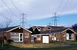 Electricity pylon & housing estate; Newburn; Newcastle-upon-Tyne; UK
