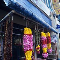 City scene, Indian ceremonial flower garlands