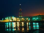 Night view of British Petroleum's, BP, Base Operation Camp, BOC, Prudhoe Bay, North Slope, Alaska.