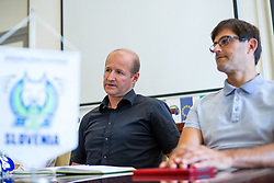 Nik Zupancic and Matjaz Rakovec at press conference of HZS and Nik Zupancic as a new head coach of Slovenian national hockey team, on June 15th, in Hala Tivoli , Ljubljana, Slovenia. Photo by Matic Klansek Velej / Sportida