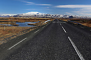 Driving along the ringroad in southern Iceland, near Hotel Ranga