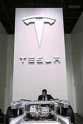 Display of chassis of Tesla Model X at Paris Motor Show 2016