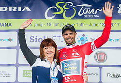 Mojca Novak and Sprint classification winner Luka Mezgec (SLO) of Orica - Scott celebrates in red jersey at trophy ceremony after the Stage 3 of 24th Tour of Slovenia 2017 / Tour de Slovenie from Celje to Rogla (167,7 km) cycling race on June 16, 2017 in Slovenia. Photo by Vid Ponikvar / Sportida