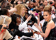 "Actress Jennifer Lopez meeting the public, signing autographs and posing for pictures as she arrives for the British premiere of ""The Back-Up Plan"" at Leicester Square in London, UK."