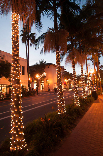 Christmas decorations on State Street, Santa barbara, California, USA