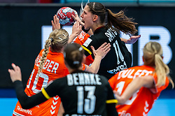Danick Snelder of Netherlands, Lois Abbingh of Netherlands, Xenia Smits of Germany in action during the Women's EHF Euro 2020 match between Netherlands and Germany at Sydbank Arena on december 14, 2020 in Kolding, Denmark (Photo by RHF Agency/Ronald Hoogendoorn)