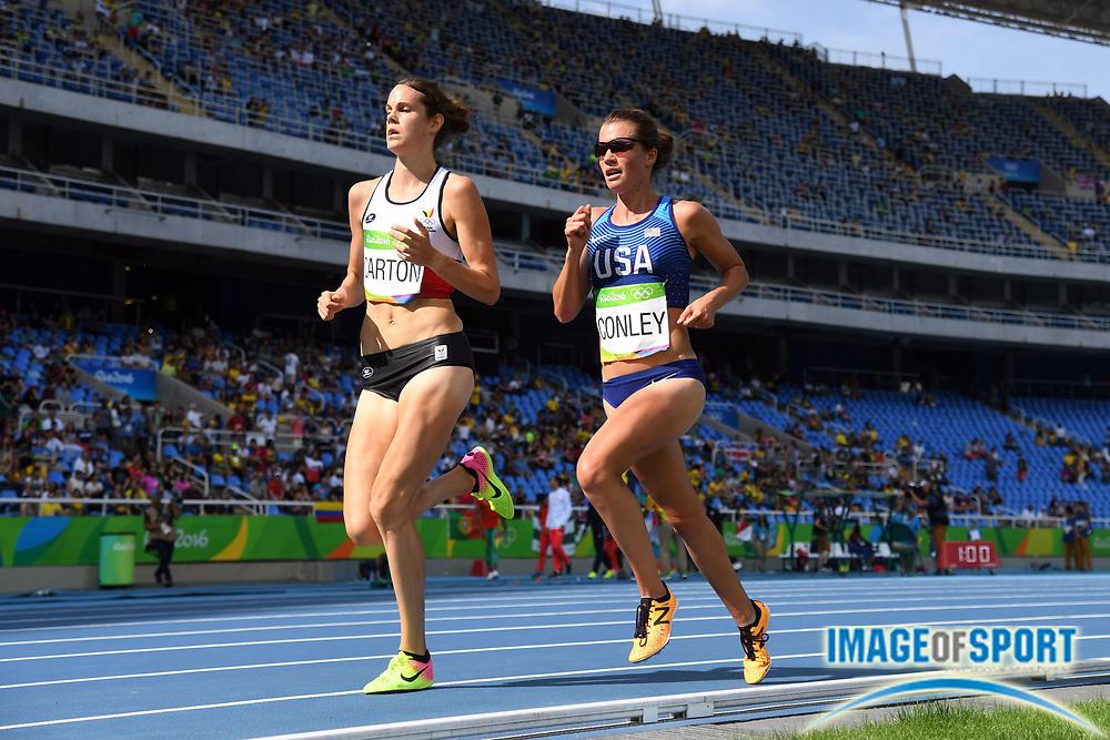 Aug 16, 2016; Rio de Janeiro, Brazil;  Kim Conley (USA) during the women's 5000m preliminaries in the Rio 2016 Summer Olympic Games at Estadio Olimpico Joao Havelange.