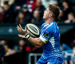 Tyler Morgan of Dragons claims the high ball<br /> <br /> Photographer Simon King/Replay Images<br /> <br /> Guinness PRO14 Round 18 - Ospreys v Dragons - Saturday 23rd March 2019 - Liberty Stadium - Swansea<br /> <br /> World Copyright © Replay Images . All rights reserved. info@replayimages.co.uk - http://replayimages.co.uk