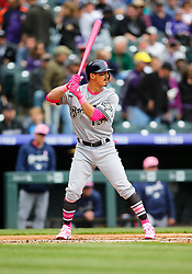 May 13, 2018 - Denver, CO, U.S. - DENVER, CO - MAY 13: Milwaukee Brewers infielder Tyler Saladino (13) bats during a regular season MLB game between the Colorado Rockies and the visiting Milwaukee Brewers on May 13, 2018 at Coors Field in Denver, CO. (Photo by Russell Lansford/Icon Sportswire) (Credit Image: © Russell Lansford/Icon SMI via ZUMA Press)