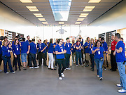 16 MARCH 2012 - SCOTTSDALE, AZ:  Employees of the Apple Store in Scottsdale get ready to open the store before the New iPad went on sale Friday. Several hundred people were in line at the Apple Store in the Scottsdale Quarter in Scottsdale, AZ, Friday to buy the New iPad.   PHOTO BY JACK KURTZ