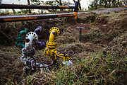 CUAXICALA, MEXICO - APRIL 5, 2018: Valves of the Poza Rica - Salamanca pipeline of Petróleos Mexicanos (PEMEX) in the Necaxa River Hydrographic Basin a Natural Protected Area since 1938. Due to the increase of military operations in the area known as the red triangle, the hydrocarbon theft has been transferred to the Sierra Norte de Puebla. Rodrigo Cruz for Rolling Stone