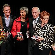 NLD/Hilversum/20121003- Boekpresentatie De Iconen van het NOS Achtuurjournaal, Joop van Zijl, Rob Trip, Eugenie Herlaar, Eef Brouwers, Noortje van Oostveen, Babs Assink