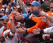 MORNING JOURNAL/DAVID RICHARD.Cleveland kickoff returner Joshua Cribbs leaps into the Dawg Pound after his 90-yard return yesterday in the second quarter against Detroit.