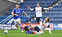 Preston North End's Brad Potts is fouled by  Cardiff City's Marlon Pack<br /> <br /> Photographer Dave Howarth/CameraSport<br /> <br /> The EFL Sky Bet Championship - Preston North End v Cardiff City - Sunday 18th October 2020 - Deepdale - Preston<br /> <br /> World Copyright © 2020 CameraSport. All rights reserved. 43 Linden Ave. Countesthorpe. Leicester. England. LE8 5PG - Tel: +44 (0) 116 277 4147 - admin@camerasport.com - www.camerasport.com