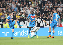 April 22, 2018 - Torino, Piemonte, Italy - in the picture: Dybala clash between juventus and Jorginho of Naples for the conquest of the ball..22 April 2018 - Turin, Italy - final match between F.C. Juneventu and SSC Napoli, at the Allianz Stadium in Turin, which is awarded the Scudetto in Serie A in Italy..Napoli wins 1-0. (Credit Image: © Fabio Sasso/Pacific Press via ZUMA Wire)