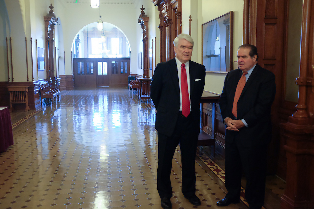 The Investiture of Chief Justice Nathan Hecht and Justice Jeff Brown, was held November 11, 2013 at the Texas Capitol.  A meet and greet session with Justice Scalia was held prior to the ceremony.   Photo by Mark Matson
