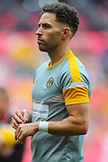 Newport County midfielder Robbie Willmott (7) warms up prior to the EFL Sky Bet League 2 Play Off Final match between Newport County and Tranmere Rovers at Wembley Stadium, London, England on 25 May 2019.