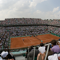 06 June 2007: General view of Philippe Chatrier court during the French Tennis Open quarter final match won 6-4, 6-3, 6-0,  by  Rafael Nadal over Carlos Moya on day 11 at Roland Garros, in Paris, France.
