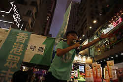 June 4, 2017 - Hong Kong, CHINA - Former student leader and the secretary general of the political party DEMOSISTO, Joshua Wong call for vindication of victims of the June 4th Massacre outside Victoria Park where annual Candle Light Vigil is held. Today mark the 28th anniversary of 1989 June 4th Tiananmen Massacre in Beijing. June 4, 2017.Hong Kong.ZUMA/Liau Chung Ren (Credit Image: © Liau Chung Ren via ZUMA Wire)