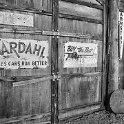 Barn Interior - Texaco And Bardahl Signs - Eldorado Canyon - Nelson NV - Black & White