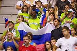 during friendly match between National teams of Slovenia and Serbia for Eurobasket 2013 on August 3, 2013 in Arena Zlatorog, Celje, Slovenia. (Photo by Vid Ponikvar / Sportida.com)