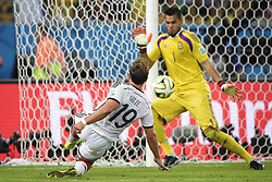 July 13, 2014 - Rio de Janeiro, Brazil - MARIO GOETZE of Germany scores the game winning goal past Argentine goalkeeper SERGIO ROMERO during the final match between Germany and Argentina during the 2014 FIFA World Cup at the Estadio do Maracana Stadium. Germany defeated Argentina 1:0.  (Credit Image: © Niklas Larsson/Bildbyran/ZUMA Wire)