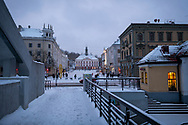 Tartu, Estonia - February 27, 2020: A snow-covered Raekoja plats (Town Hall Square) in Tartu, Estonia, photographed at 5:30 p.m.