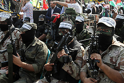 October 21, 2016 - Gaza, Gaza Strip, Palestinian Territory - Palestinian Islamic Jihad militants stand guard during a rally marking the 29th anniversary of the movement foundation in Gaza City October 21, 2016  (Credit Image: © Abed Rahim Khatib/APA Images via ZUMA Wire)