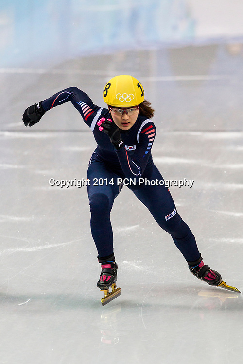 Seung-Hi Park (KOR) competing in the Women's Short Track 3000m relay semifinals at the  Olympic Winter Games, Sochi 2014